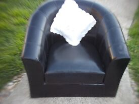 OFFICE CHAIR / BLACK LEATHER - BEDROOM CHAIR ** CLACTON