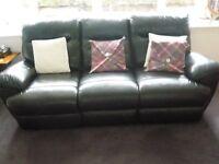Dark Aubergine Leather Three Piece Lounge Suite