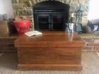 Old Antique Chest, Blanket Box, Vintage Wooden Storage Trunk, Coffee Table.