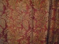 Six quality heavy hand made lined curtains in classic traditional style fabric