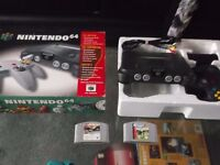 VINTAGE RETRO NINTENDO 64 BOXED WIRES AND GAMES INCLUDED