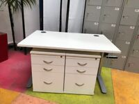 2 x Under Desk Mobile Office 3 Drawer Pedestal/White/Keys/Desk pedestals