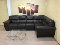 Large Family Brown Leather Corner Sofa