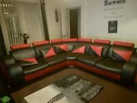 Big red and black corner couch
