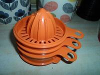 Vintage Tupperware BURNT ORANGE STACKERLemon Orange Juicer Egg Separator Grater