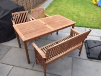 Wooden Garden Table, 2 Chairs, 1 Bench, Parasol and Base