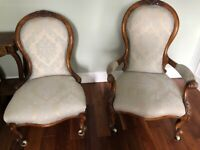 A pair of lady's and gentleman's chairs, Victorian, in good, stable condition