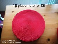 Red round placemats 18 for £5