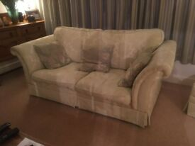 2 sofas and storage box in soft green with contrasting cushions excellent condition £500