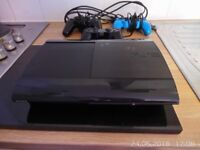Sony PlayStation 3 500GB Jet Black Console + 3 pcs controllers.