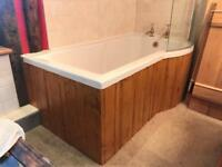P shaped bath with shower screen. Rarely used.