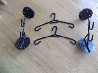 2 x Helmet Hangers & Leathers Storage Rack with covers