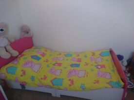 Pink bed with bedside cabinet,drawer and mattress