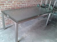 Glass & Stainless Steel Dining Room Table & 6 Chairs - DELIVERY AVAILABLE