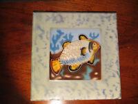 Vintage Retro Old Decorative Fish Design Tile Hand Painted Display Tile