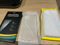 iPhone 12 case (x2) and screen protectors (x3)