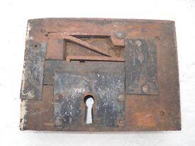 Antique wooden rim lock