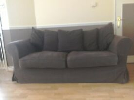 3 seater settee and matching 2 seater metal action sofa bed