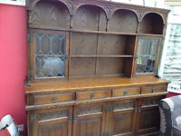 Lovely large oak dresser,display cabinet,sideboard,kitchen/dining room unit and matching cabinet,vgc