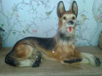 Large Chalk/Plaster Alsatian/German Shepherd Dog Figure.