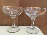 10 x Vintage Babycham glasses with gold rim, white fawn circa 1950s
