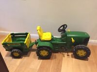 Kids Pedal John Deere Tractor, Trailer and Shovel in very good condition