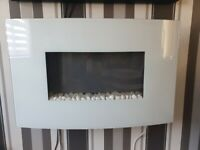 Endeavour Fires Egton Wall Mounted Electric Fire, White Curved Glass