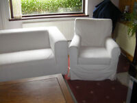 IKEA SOFAS AND ARM CHAIR WHITE CANVAS