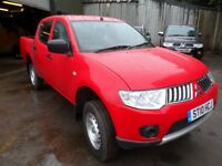 2010 60 MITSUBISHI L200 4WORK , ONLY 58000 MILES , RED DOUBLECAB , PLUS VAT £8495 INC VAT