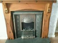 Oak fire surround,inset and electric fire