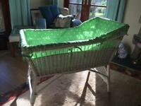 White painted wicker baby's crib / Moses basket with new Catherine Kidston liner