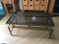 Vintage Glass/Brass Coffee Table
