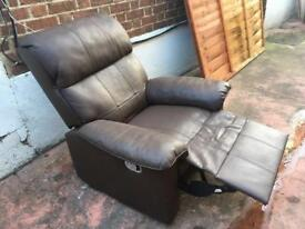 Brown Leather Manual Reclining Arm Chair