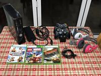 Xbox 360 250gb with games and controllers