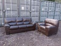 Large Leather 3 seater settee with Matching armchair Delivery Available C070021