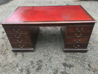 Beautiful Antique Partners Desk With Red Leather Top, with Pull-out Extension Tables