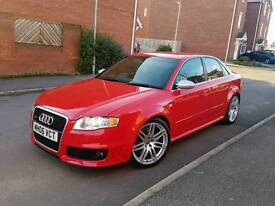 2006 AUDI RS4 4.2 V8 QUATTRO MANUAL 4 DOOR SALOON RED LOW MILEAGE F.S.H HPI CLEAR