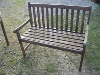 MODERN BROWN PAINTED WOODEN BENCH. SITS 2-3. 3 AVAILABLE. VIEWING/DELIVERY POSSIBLE