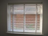 2 Pure White & White Wooden Blind with Tapes - 50mm Slat