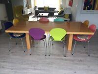 Maple veneered wood dining table