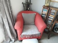 2 Vintage Tub Armchairs For Sale. Great upholstery project or as is shabby chic.