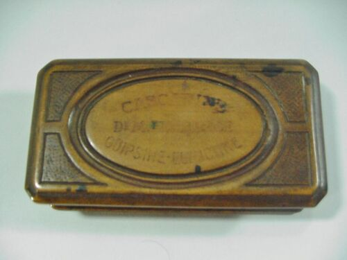 AN ANTIQUE COFFIN SHAPED WOOD MEDICINE BOX FOR GUIPSINE (FROM MISTLETOE) - 1900