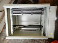 data cabinet, 9u, lockable,with 2x rj45 racks