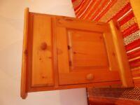 Pine bedside cupboard