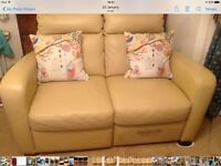 Two seater real leather beige sofa