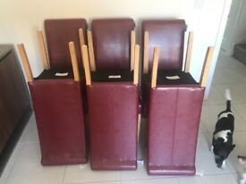 6 New Red Leather Dining Chairs - Brand New