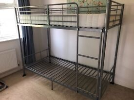 Metal bunk bed and mattress- 4 months old