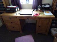 Oak writing desk c/w chair