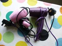 A pair of small hair dryers (purple GHD)(pink Carmengirls), pre-loved!!! CAN BE SOLD SEPERATELY!