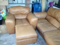 Leather 3 seat sofa and large arm chair for sale £200